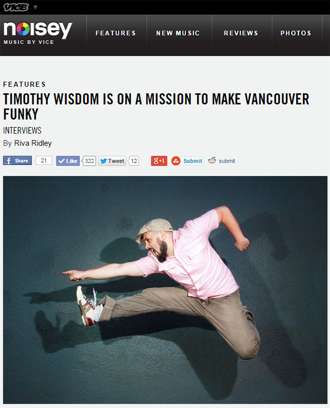 Timothy Wisdom On Noisey Magazine
